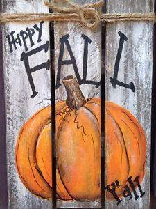 HAPPY FALL Y'ALL Primitive Rustic Pallet PORCH Country Halloween Handmade Decor