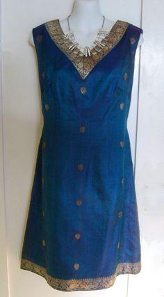 Vintage Blue Silk Indian Sari Shift Dress  sixties by TroppoBella, $38.00