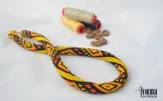 African Crochet Necklace Ethnic style Embroidery style Orange yellow brown necklace Ukrainian style Geometric beaded jewelry Summer rope