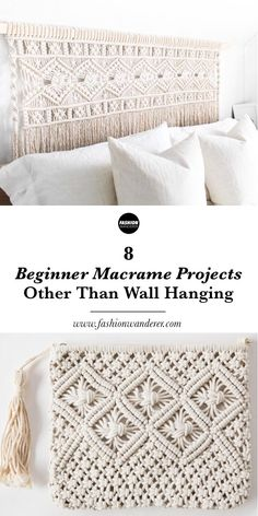 These 8 beginner macrame projects other than wall hanging is THE BEST! From plant hanger, headboard, chair to feather DIY simple and easy tutorial and. 8 Anfänger Makramee-Projekte andere als Wandbehang - Lynne - . Mason Jar Crafts, Mason Jar Diy, Macrame Projects, Sewing Projects, Sewing Tips, Sewing Art, Macrame Supplies, Projects To Try, Sewing Rooms