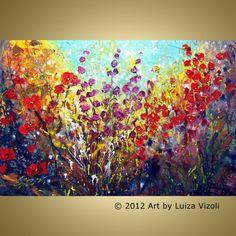 WILDFLOWERS FIELD Large Canvas by Luiza Vizoli
