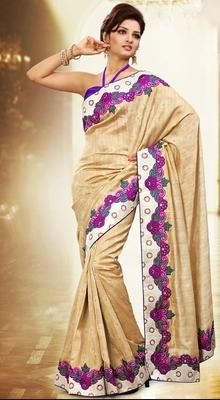 Divine Cream Embroidered Saree