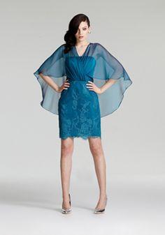 Above Knee Sheath/ Column V Neck Natural Waist Hook and Eye Closure Back Chiffon & Lace Evening Cocktail Dress - 1300305390B - US$229.99 - BellasDress
