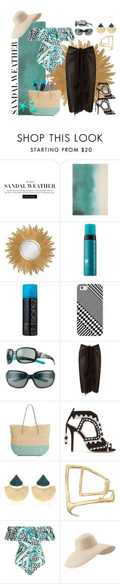 """""""No one ever injured their eyesight looking at the bright side"""" by grownuppaperdolls ❤ liked on Polyvore featuring Bluebellgray, Universal Lighting and Decor, St. Tropez, Casetify, SunCloud Polarized Optics, Target, Sophia Webster, Silhouette, Alexis Bittar and Mara Hoffman"""