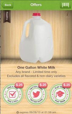 Rare Milk Coupon: Save 75¢ on ANY One Gallon White Milk.  Love this!  Who doesn't buy milk on a regular basis?  Expires 09.28