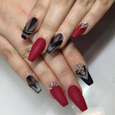 Nice and Simple Black & Red Nail Design
