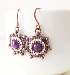 Handmade amethyst and seed bead earrings in frosted purple, opaque pale blue gray and bronze