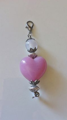 Handmade purse charm  Large pink glass heart by CharmsAnTreasures, $16.00