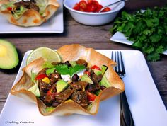 Cooking Creation: Crock Pot Chipotle Steak Taco Salad Bowls