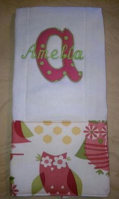 burp cloth ideas | Personalized Burp Cloths
