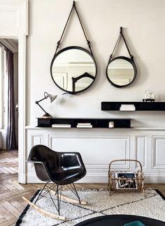 Black and white Parisian apartment. Photo by Felix Forest via Living Inside Diy Interior, Interior Styling, Interior Architecture, Interior And Exterior, Interior Decorating, Interior Design, Living Room Decor, Living Spaces, Living Area