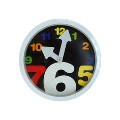 Wall Clock with Colored Numbers White - Creative Motion Industries