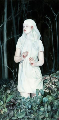 Beautiful paintings by Joanne Nam. Dark background white figure feels cold and deep like sleep