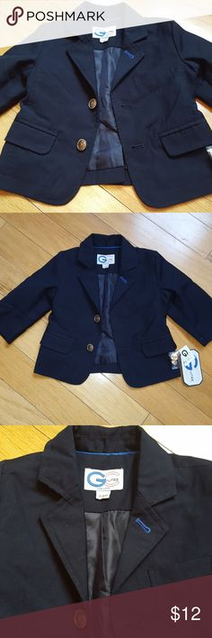Baby sport jacket! NWT Dark navy blue sports coat with collar and button front. Patch elbows with cuff buttons. So cute! Size 3-6month Jackets & Coats Blazers
