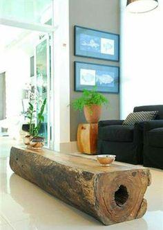 #upcycled log coffee table