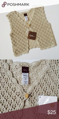 NWT Tea Crochet Vest So so cute! NWT! Crochet vest perfect for layering in spring and summer! Size is a XS(2-3) and fits like a 3T! Tea Collection Shirts & Tops