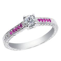 15 Ct Diamant Rond Saphir Rose 925 Bague De Fiançailles En Argent | Silver Engagement Ring