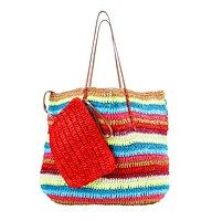 "Multicolored Stripe Straw Beach Tote - We'll just say it: this colorfully striped bag is totes adorable—and the best part is its amazingly practical (and removable) coordinating clutch. Open tote: 16"" length x 14 1/2"" height. Removable zip clutch: 8 1/2"" length x 6"" height."