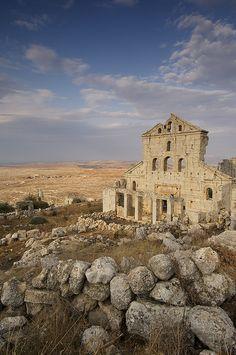 Baqirha church Byzantine ruins near Aleppo (UNESCO World Heritage Site), Syria