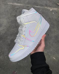 Air Jordan 1 Mid Iridescent Reflective White CK6587-100 Womens Fashion Sneakers, Nike Fashion, Fashion 2020, Fashion Outfits, Jordan Shoes Girls, Girls Shoes, Outfits Casual, Casual Shoes, Cute Nike Outfits