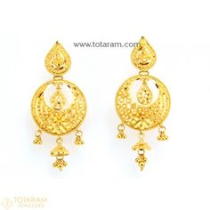 9b8b8bc2d 22K Gold Drop Earrings for Women - 235-GER8659 - Buy this Latest Indian  Gold Jewelry Design in 11.200 Grams for a low price of … | Indian Gold  Earrings in ...