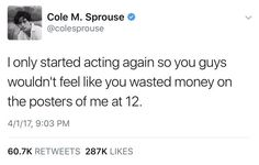 This is so funny though, I watched The Suite life of Zack and Cody everyday Dylan Sprouse, Sprouse Bros, Cole Sprouse Funny, Riverdale Funny, Riverdale Cw, Riverdale Memes, Funny Tweets, Funny Memes, Hilarious