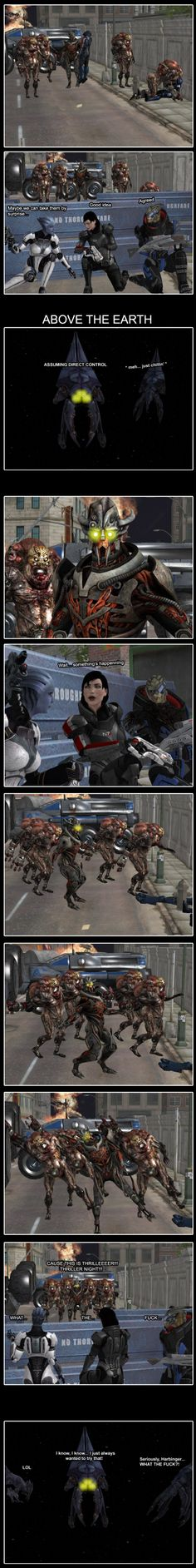 Ok-this is hillarious!! Excuse swearing, but pretty hilarious.  Mass Effect Thriller  by Yuri-World-Ruler