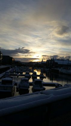 Winter in Trondheim. Beautiful sunset over the river, Nidelven
