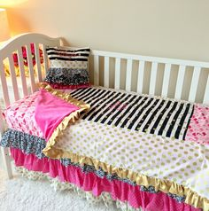 Monogrammed Ruffle Pillow - Striped, Gold Dot, Black and White, and Hot Pink
