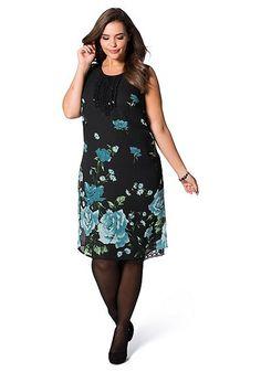 sheego Style Figurbetonendes Kleid - türkis-schwarz   Damenmode online kaufen