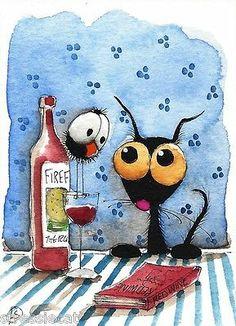 Wine Connoisseur - ACEO Original Watercolor Folk Art Painting Black Cat Kitty Red Bottle Wine Crow | eBay