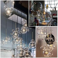 This modern art styled chandelier, with it's beautifully crafted glass ball design each hosting their own LED lights, will surely stun your friends and family. Bubble Chandelier, Art Deco Chandelier, Glass Chandelier, Chandelier Lighting, Led Pendant Lights, Kitchen Pendant Lighting, Chandeliers, Modern Art Styles, Hanging Lights