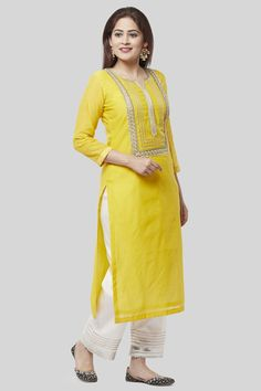 Daffodil Gotta Straight Kurti with Off-White Gotta Palazzo - Daffodil Gotta Str. - Daffodil Gotta Straight Kurti with Off-White Gotta Palazzo – Daffodil Gotta Str… – Daffodil - Salwar Designs, Kurta Designs Women, Kurti Designs Party Wear, Neck Designs For Suits, Dress Neck Designs, Blouse Designs, Yellow Kurti, Kurti Embroidery Design, Embroidery Fabric