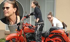 Steven Tyler takes girlfriend for a ride on his motorbike #DailyMail