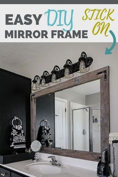 DIY Stick on Mirror Frame. Easy, inexpensive way to update your bathroom! Step by Step tutorial with no need for fancy power tools! Bathroom Mirrors Diy, Diy Bathroom Decor, Master Bathroom, Framing Mirror In Bathroom, Furniture In Bathroom, Small Bathroom, Framing Mirrors, Bathroom Mirror Makeover, Bathroom Taps