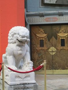 A lion stands guard outside of Grauman`s Theatre in Hollywood, California.