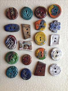 Bottoni in ceramica Raku Handmade Bottoni Clay Pottery