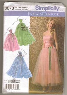 4b92283b1f8 Simplicity 3878 Sewing Pattern for Strapless 50s Style Evening Gown Sizes  4-6-8-10012 New and Uncut