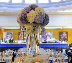 Pale blue and white centrepiece
