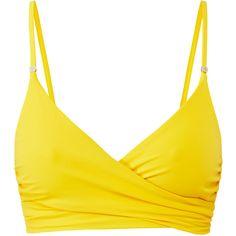 Stella McCartney Embellished Yellow Wrap Bikini Top (535 SEK) ❤ liked on Polyvore featuring swimwear, bikinis, bikini tops, yellow, wrap swimsuit top, thin bikini, yellow bikini top, strappy bikini bottom and wrap around bikini top