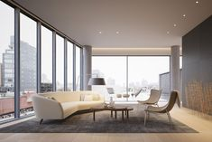 Tadao Ando Unveils New Renderings for 152 Elizabeth Street Penthouse Interiors in NYC Tadao Ando, Living Room Sofa, Living Area, Best Interior, Interior Design, Elizabeth Street, Pent House, Designer, Sofas