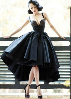 Little Black Dress Vintage Homecoming Dresses High Low Short Prom Dress Party Dress · Happybridal · Online Store Powered by Storenvy Dresses Short, Cheap Prom Dresses, Prom Party Dresses, Sexy Dresses, Evening Dresses, Dress Party, Prom Gowns, 1950s Dresses, Rockabilly Dresses