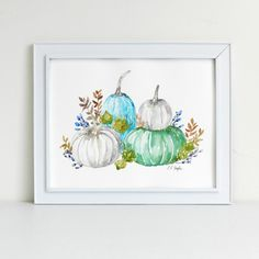 Rustic Watercolor Blue and Green Pumpkins by Elise Engh