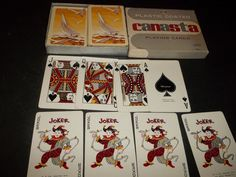 Lot 2 Vintage Whitman Canasta Playing Cards Sail Boats & Seagulls w Jokers #Whitman