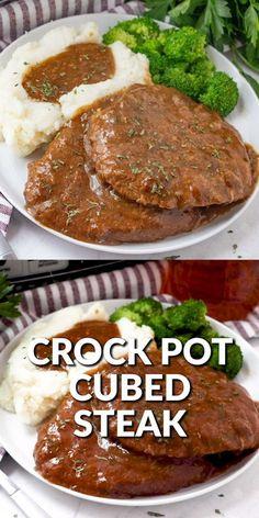 Healthy Crockpot Recipes, Good Crock Pot Recipes, Easy Crock Pot Meals, Crockpot Meat, Cooking Recipes, Beef Cube Steak Recipes, Chuck Steak Recipes, Beef Cubed Steak, Steak Dinner Recipes