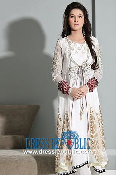 Maria B Party Wear Outfits Collection in Off White  Buy Online Salwar Kameez Pakistani 2014 in Discounted Retail (For End-customer) and Wholesale (For Stores and Resellers) Prices in UK. London Phone  44 (0) 208 123-4031. by www.dressrepublic.com