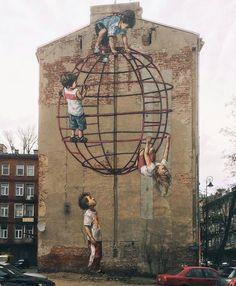 Уличный художник Ernest Zacharevic не просто рисует на уличных стенах.  http://qoo.by/qzN