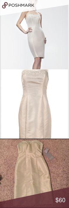 Theia strapless lace sheath dress 0 Bnwt. Extra button Theia Dresses