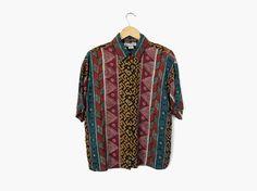 90s Geometric Collared Shirt, Vintage c. 1990s