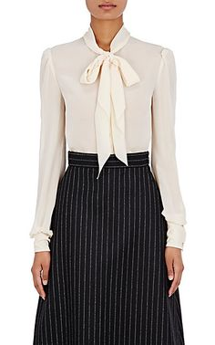 We Adore: The Tieneck Blouse from Saint Laurent at Barneys New York